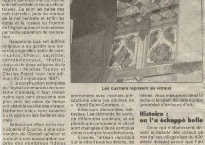 1998 - Eglise St Bonnet, restauration des vitraux - Le Progres