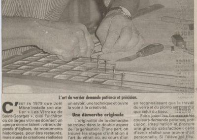 2001.10.25. - Vitrail Saint-Georges Le Maître verrier devient Maître d'école - Le Progrès