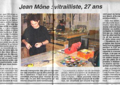 2004.04.02. - Jean MONE Vitrailliste, 27 ans - Le Progres