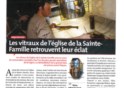 2009.04.01. - les vitraux de l'eglise de la Sainte Famille retrouve leurs eclats - Magazine de Villeurbanne