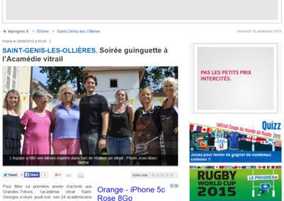 2015.06.29. - Le Progres - Soiree Guinguette à l'academie Vitrail - RASSEMBLE