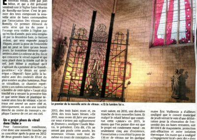 2015.09.20 - L'est Eclair - Le Nx Vitraux présentés à l'Eglise St Martin de Romilly - Papier