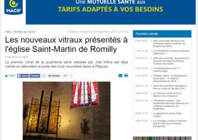 2015.09.21. - L'est Eclair - Le Nx Vitraux presentes à l'Eglise St Martin de Romilly - RASSEMBLE