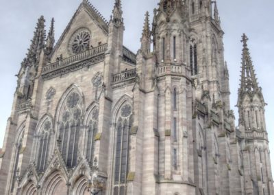 Mulhouse - Temple St-Etienne - Façade occidentale - Restauration - Vitraux - Vue d'ensemble extérieur avant restauration