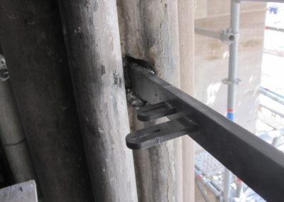 Mulhouse - Temple St-Etienne - Façade occidentale - Restauration - Vitraux - détail des barlotières à double accueil en déport intérieur sur les feuillures d'origine